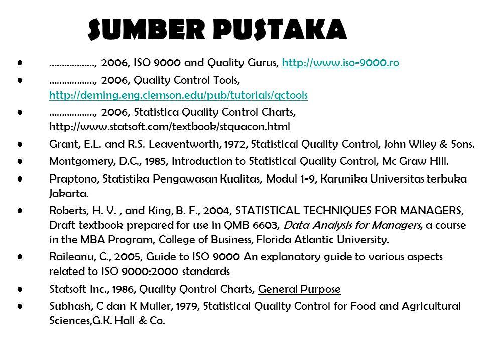 SUMBER PUSTAKA ………………, 2006, ISO 9000 and Quality Gurus, http://www.iso-9000.rohttp://www.iso-9000.ro ………………, 2006, Quality Control Tools, http://deming.eng.clemson.edu/pub/tutorials/qctools http://deming.eng.clemson.edu/pub/tutorials/qctools ………………, 2006, Statistica Quality Control Charts, http://www.statsoft.com/textbook/stquacon.html Grant, E.L.