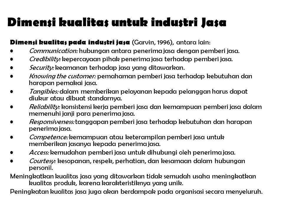 Dimensi kualitas untuk industri Jasa Dimensi kualitas pada industri jasa (Garvin, 1996), antara lain: Communication: hubungan antara penerima jasa dengan pemberi jasa.