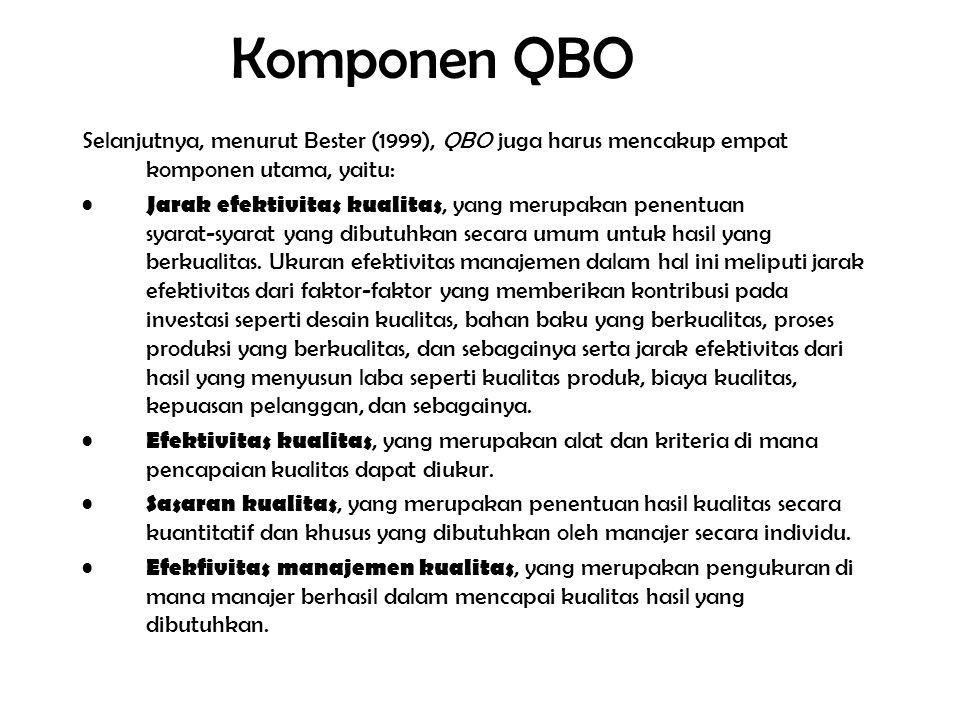 Komponen QBO Selanjutnya, menurut Bester (1999), QBO juga harus mencakup empat komponen utama, yaitu: Jarak efektivitas kualitas, yang merupakan penentuan syarat ‑ syarat yang dibutuhkan secara umum untuk hasil yang berkualitas.