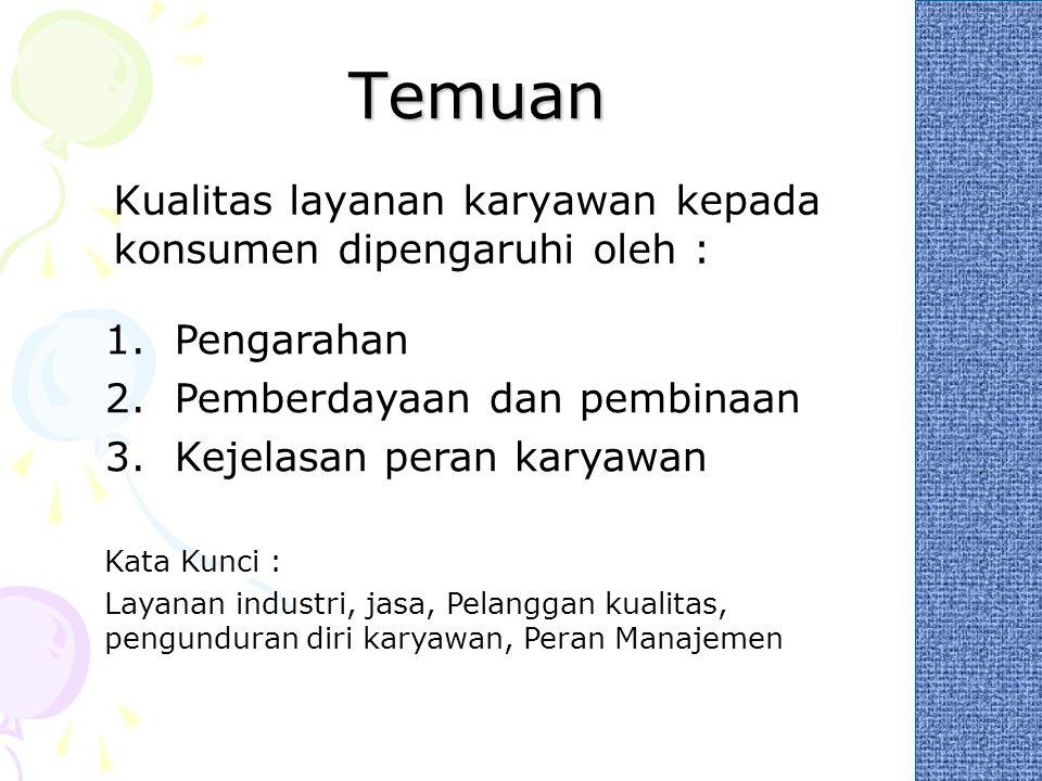Temuan Kualitas layanan karyawan kepada konsumen dipengaruhi oleh : 1.Pengarahan 2.Pemberdayaan dan pembinaan 3.Kejelasan peran karyawan Kata Kunci :