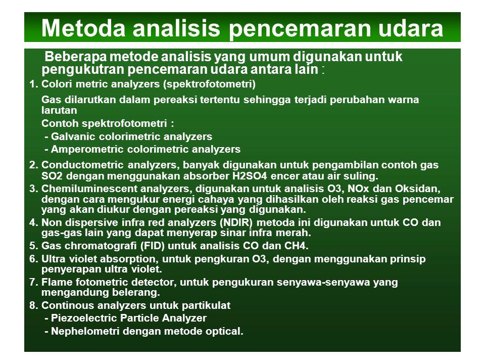 Metoda analisis pencemaran udara Beberapa metode analisis yang umum digunakan untuk pengukutran pencemaran udara antara lain : 1.Colori metric analyze