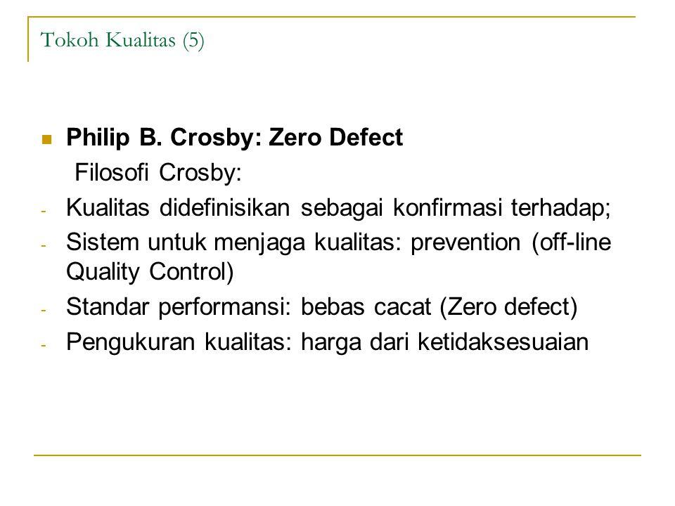 Tokoh Kualitas (5) Philip B. Crosby: Zero Defect Filosofi Crosby: - Kualitas didefinisikan sebagai konfirmasi terhadap; - Sistem untuk menjaga kualita