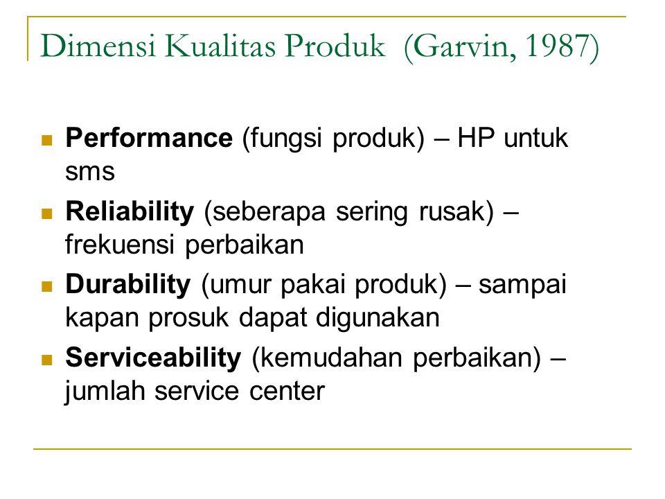 Dimensi Kualitas Produk (Garvin, 1987) Performance (fungsi produk) – HP untuk sms Reliability (seberapa sering rusak) – frekuensi perbaikan Durability
