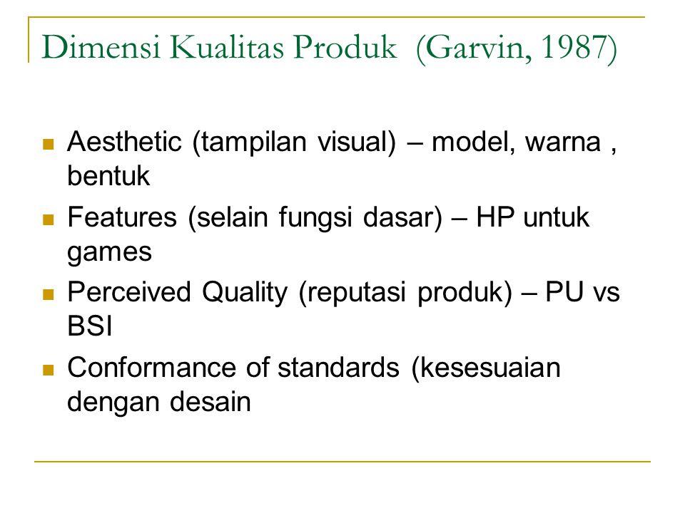 Aesthetic (tampilan visual) – model, warna, bentuk Features (selain fungsi dasar) – HP untuk games Perceived Quality (reputasi produk) – PU vs BSI Con