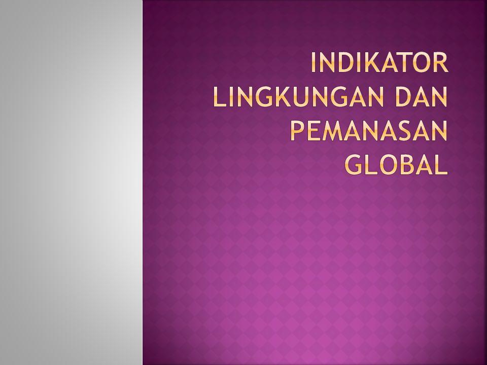  Indikator Global:  Penipisan lapisan ozon  Rata-rata suhu global  Indikator Regional/Lokal  Kadar kontaminan spesifik di udara  Tingkat kekeruhan sungai kecil  Perubahan level air tanah  Kadar kontaminan spesifik di perm.