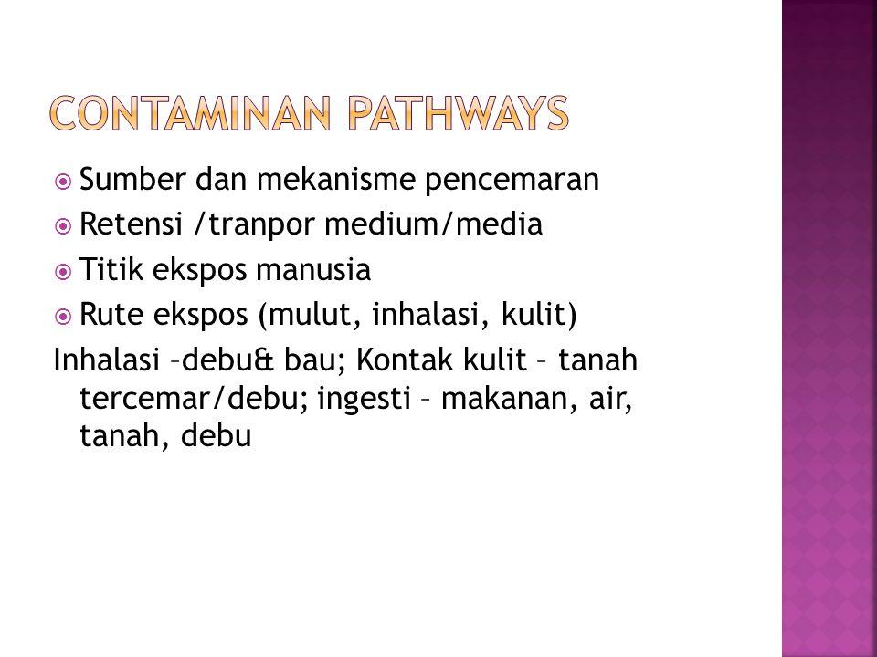  Sumber dan mekanisme pencemaran  Retensi /tranpor medium/media  Titik ekspos manusia  Rute ekspos (mulut, inhalasi, kulit) Inhalasi –debu& bau; K