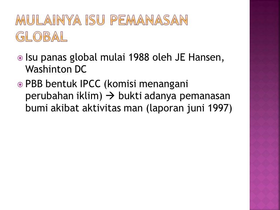  Isu panas global mulai 1988 oleh JE Hansen, Washinton DC  PBB bentuk IPCC (komisi menangani perubahan iklim)  bukti adanya pemanasan bumi akibat aktivitas man (laporan juni 1997)