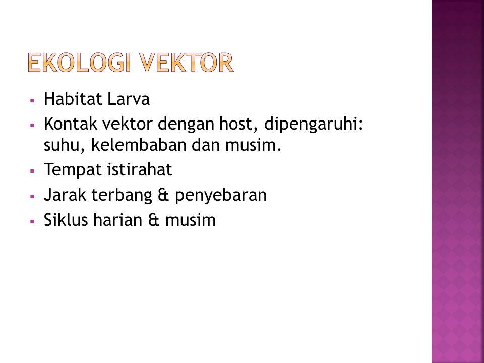  Habitat Larva  Kontak vektor dengan host, dipengaruhi: suhu, kelembaban dan musim.