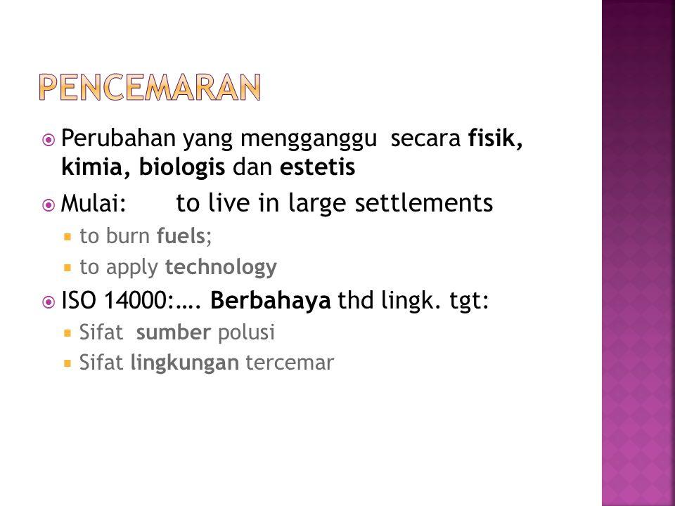  Perubahan yang mengganggu secara fisik, kimia, biologis dan estetis  Mulai: to live in large settlements  to burn fuels;  to apply technology  ISO 14000:….