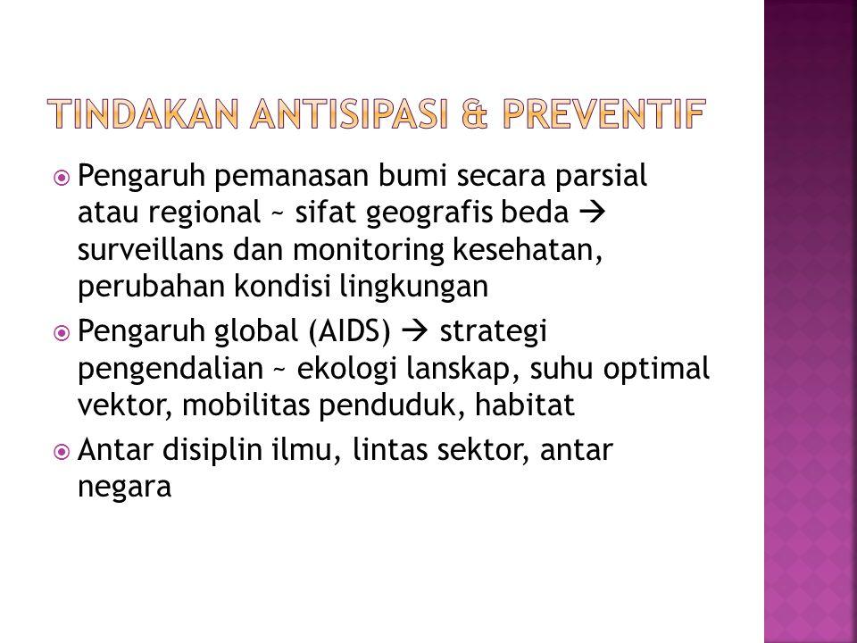  Pengaruh pemanasan bumi secara parsial atau regional ~ sifat geografis beda  surveillans dan monitoring kesehatan, perubahan kondisi lingkungan  P