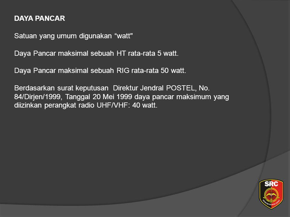 DAYA PANCAR Satuan yang umum digunakan watt Daya Pancar maksimal sebuah HT rata-rata 5 watt.