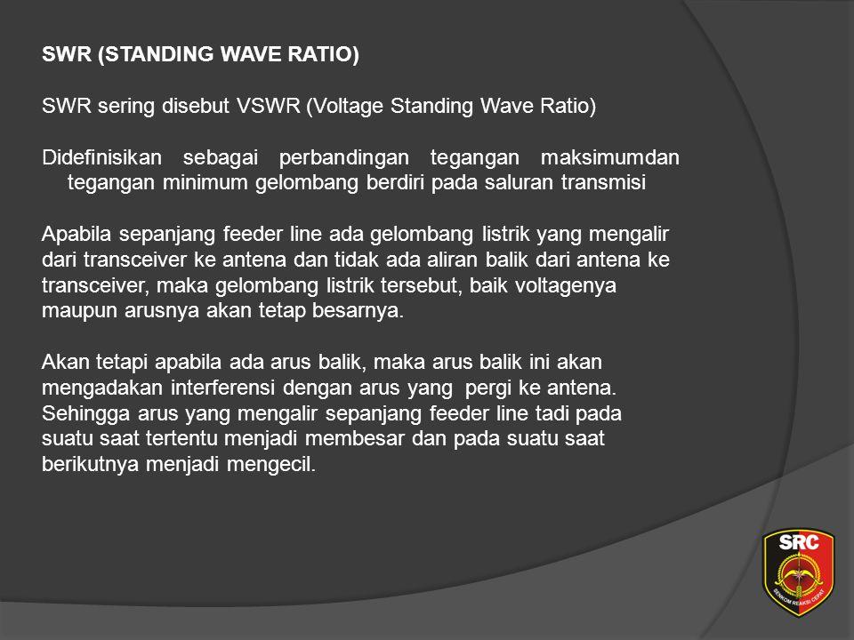 SWR (STANDING WAVE RATIO) SWR sering disebut VSWR (Voltage Standing Wave Ratio) Didefinisikan sebagai perbandingan tegangan maksimumdan tegangan minimum gelombang berdiri pada saluran transmisi Apabila sepanjang feeder line ada gelombang listrik yang mengalir dari transceiver ke antena dan tidak ada aliran balik dari antena ke transceiver, maka gelombang listrik tersebut, baik voltagenya maupun arusnya akan tetap besarnya.