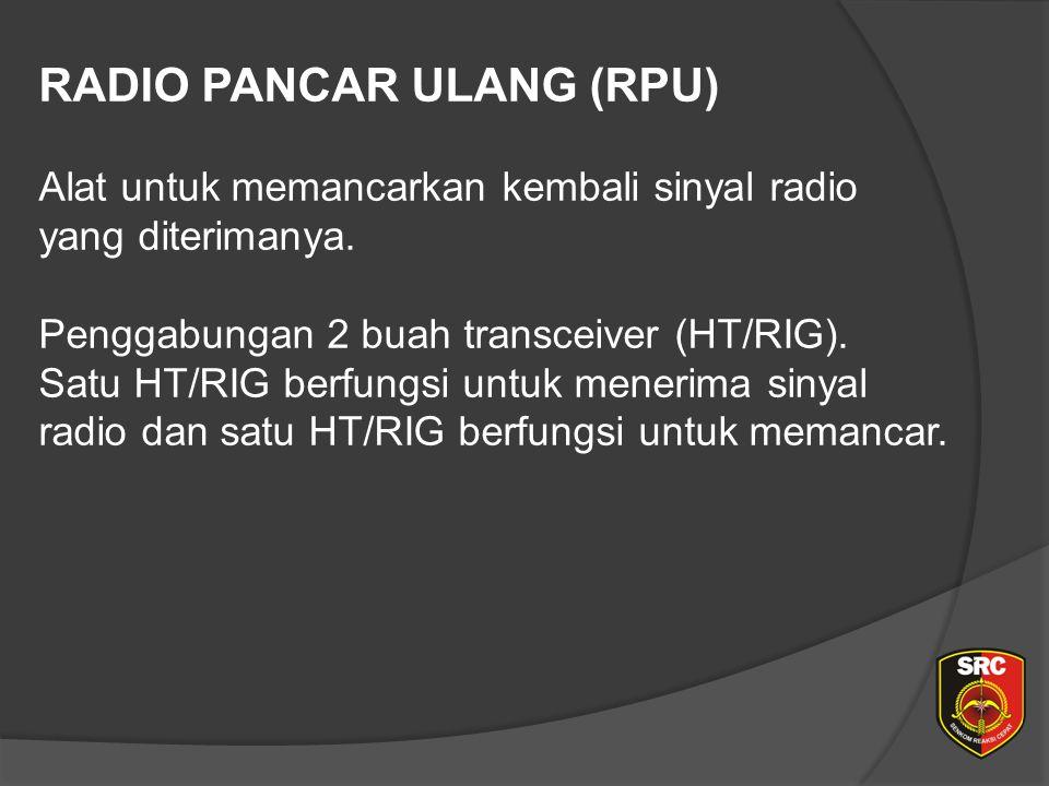 RADIO PANCAR ULANG (RPU) Alat untuk memancarkan kembali sinyal radio yang diterimanya.