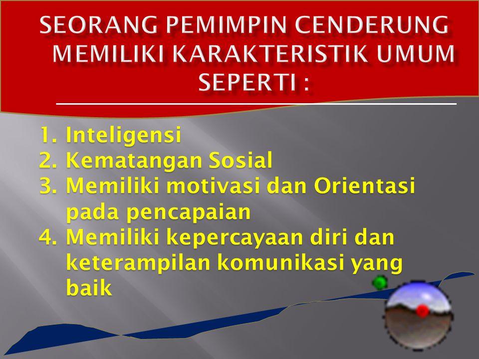 1.Inteligensi 2.Kematangan Sosial 3.Memiliki motivasi dan Orientasi pada pencapaian 4.Memiliki kepercayaan diri dan keterampilan komunikasi yang baik