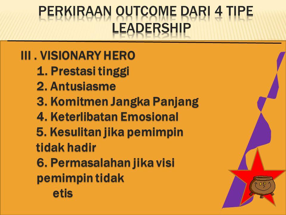 III.VISIONARY HERO 1. Prestasi tinggi 2. Antusiasme 3.