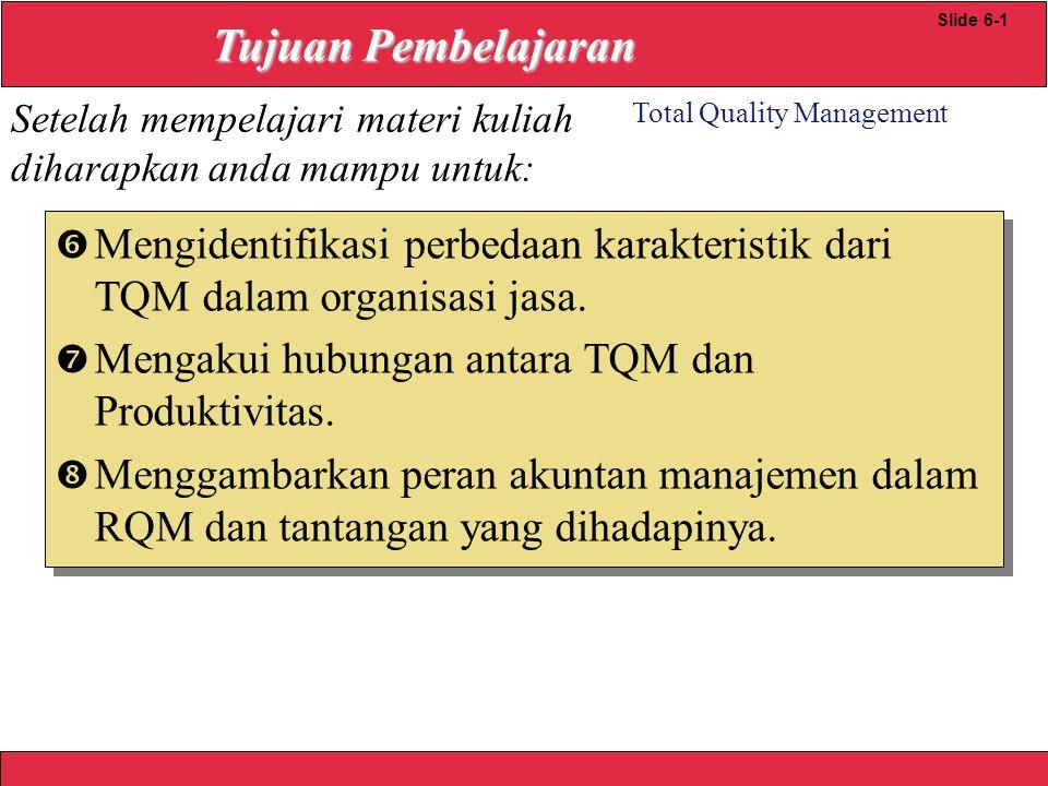 2008 Yudhi herliansyah Total Quality Management Slide 610 Quality Loss Function TAGUCHI LOSS FUNCTION L(x) = k(x -T) Dimana: x = nilai obsevasi dr karakteristik kualitas T = target value k = cost coefficient 2