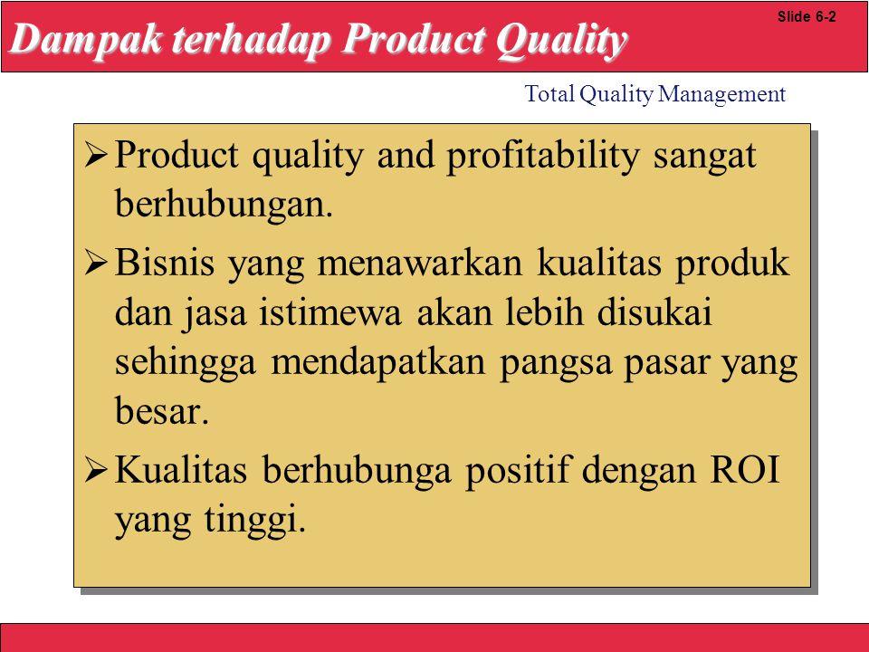 2008 Yudhi herliansyah Total Quality Management Slide 6-12 Quality Loss Function k=k= Biaya Total Quality (Toleransi yg dibolehkan) Suatu perusahaan menentukan bahwa pelanggan tdk akan menerima penyipangan lebih dr.05 dari target value dg target ketebalan.5 dan biaya sebesar $5,000 akan dikeluarkan untuk setiap penolakan produk oleh pelanggan