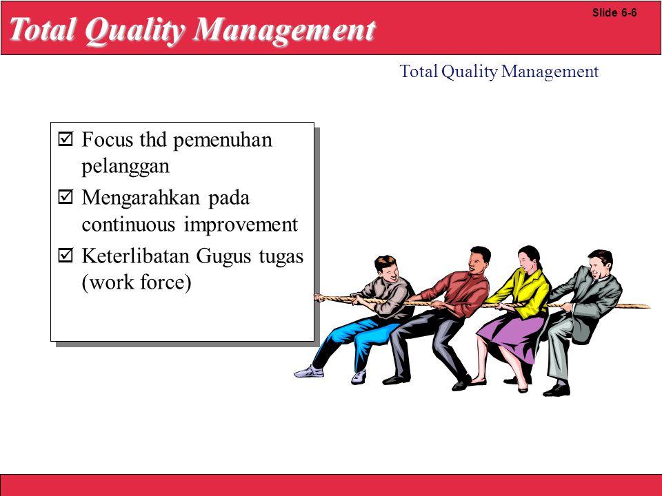 2008 Yudhi herliansyah TQM Implementation Guidelines Total Quality Management Slide 6-7 Bentuk dewan kualitas Melakukan program pelatihan kualitas Lakukan audit kualitas Siapkan analisis GAP Kembangkan Rencana pencapaian kualitas stratejik Bentuk dewan kualitas Melakukan program pelatihan kualitas Lakukan audit kualitas Siapkan analisis GAP Kembangkan Rencana pencapaian kualitas stratejik Year 1