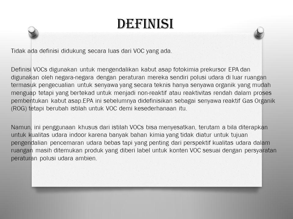 Definisi Tidak ada definisi didukung secara luas dari VOC yang ada. Definisi VOCs digunakan untuk mengendalikan kabut asap fotokimia prekursor EPA dan