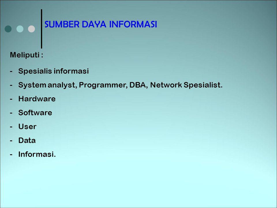 SUMBER DAYA INFORMASI Meliputi : -Spesialis informasi -System analyst, Programmer, DBA, Network Spesialist. -Hardware -Software -User -Data -Informasi