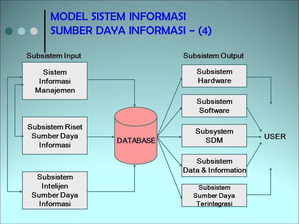 MODEL SISTEM INFORMASI SUMBER DAYA INFORMASI ~ (4) Sistem Informasi Manajemen Subsistem Riset Sumber Daya Informasi Subsistem Intelijen Sumber Daya In