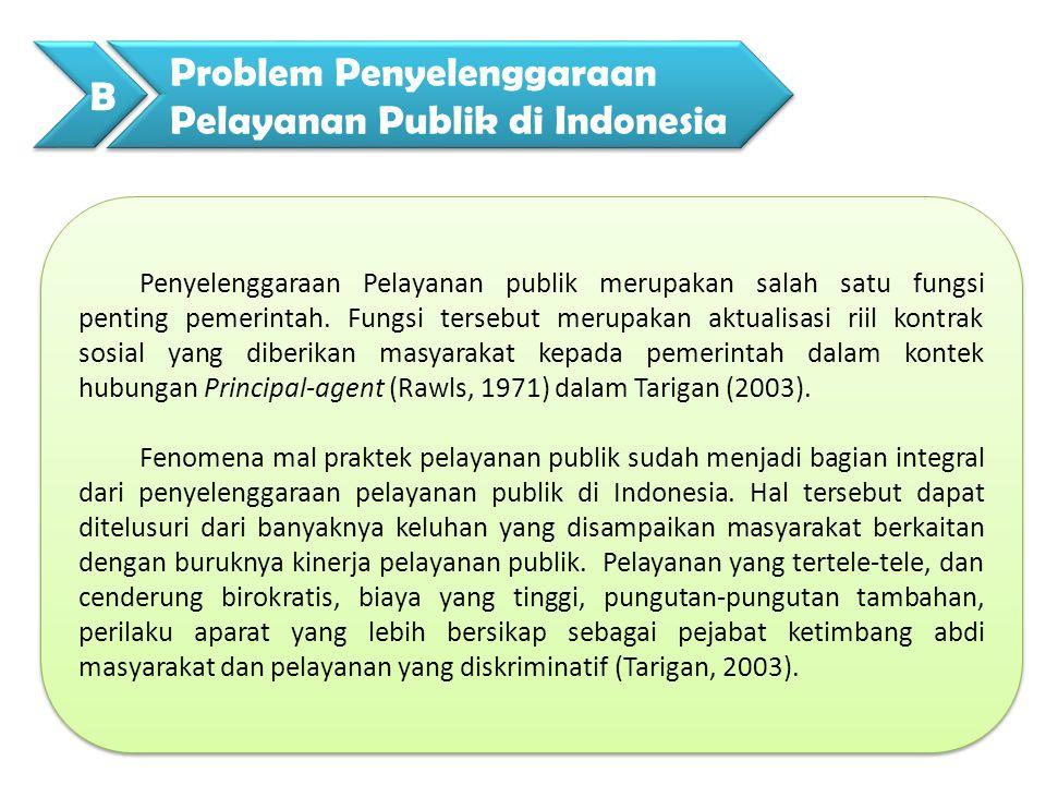 Sejalan dengan pemikiran tersebut diatas Islamy (2007) mengatakan 59% masyarakat pengguna layanan menilai kinerja pelayanan publik adalah buruk.