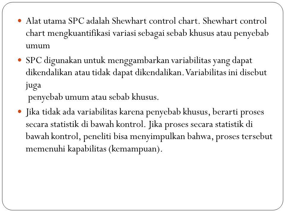 Alat utama SPC adalah Shewhart control chart. Shewhart control chart mengkuantifikasi variasi sebagai sebab khusus atau penyebab umum SPC digunakan un