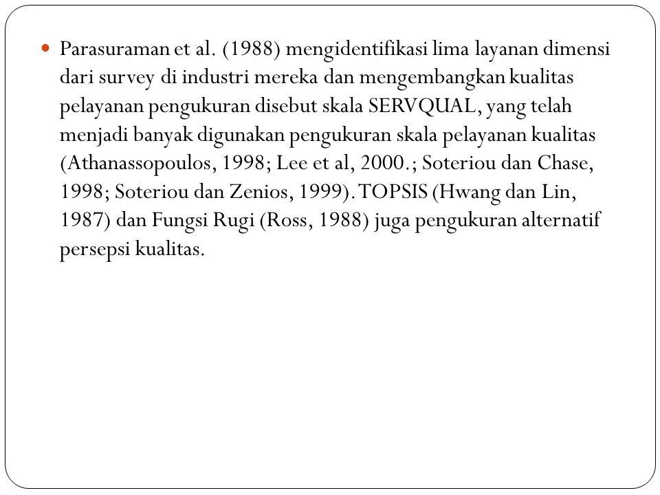 Parasuraman et al. (1988) mengidentifikasi lima layanan dimensi dari survey di industri mereka dan mengembangkan kualitas pelayanan pengukuran disebut