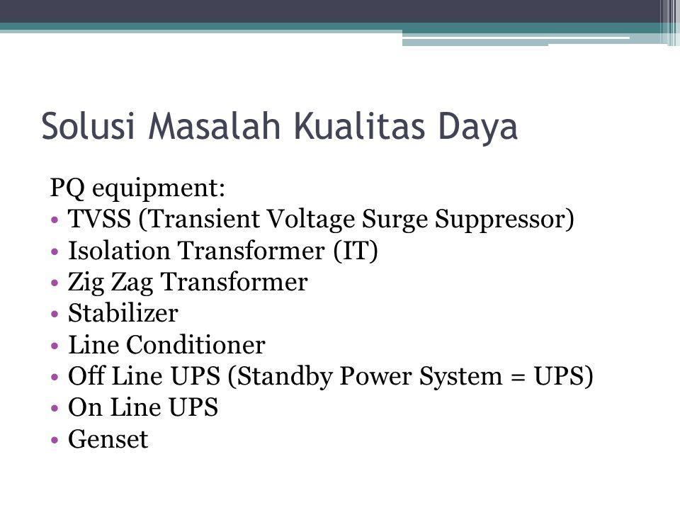 Solusi Masalah Kualitas Daya PQ equipment: TVSS (Transient Voltage Surge Suppressor) Isolation Transformer (IT) Zig Zag Transformer Stabilizer Line Conditioner Off Line UPS (Standby Power System = UPS) On Line UPS Genset