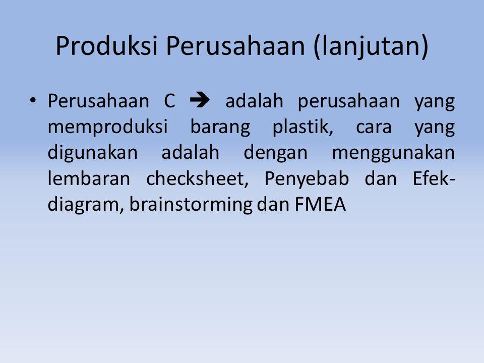 Produksi Perusahaan (lanjutan) Perusahaan C  adalah perusahaan yang memproduksi barang plastik, cara yang digunakan adalah dengan menggunakan lembaran checksheet, Penyebab dan Efek- diagram, brainstorming dan FMEA