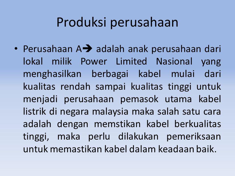 Produksi perusahaan Perusahaan A  adalah anak perusahaan dari lokal milik Power Limited Nasional yang menghasilkan berbagai kabel mulai dari kualitas rendah sampai kualitas tinggi untuk menjadi perusahaan pemasok utama kabel listrik di negara malaysia maka salah satu cara adalah dengan memstikan kabel berkualitas tinggi, maka perlu dilakukan pemeriksaan untuk memastikan kabel dalam keadaan baik.