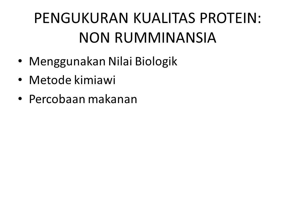 PENGUKURAN KUALITAS PROTEIN: NON RUMMINANSIA Menggunakan Nilai Biologik Metode kimiawi Percobaan makanan