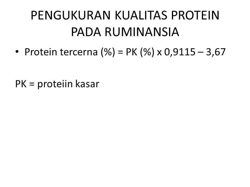 PENGUKURAN KUALITAS PROTEIN PADA RUMINANSIA Protein tercerna (%) = PK (%) x 0,9115 – 3,67 PK = proteiin kasar