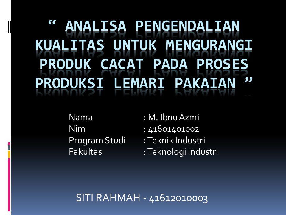 SITI RAHMAH - 41612010003 Nama: M. Ibnu Azmi Nim: 41601401002 Program Studi: Teknik Industri Fakultas : Teknologi Industri