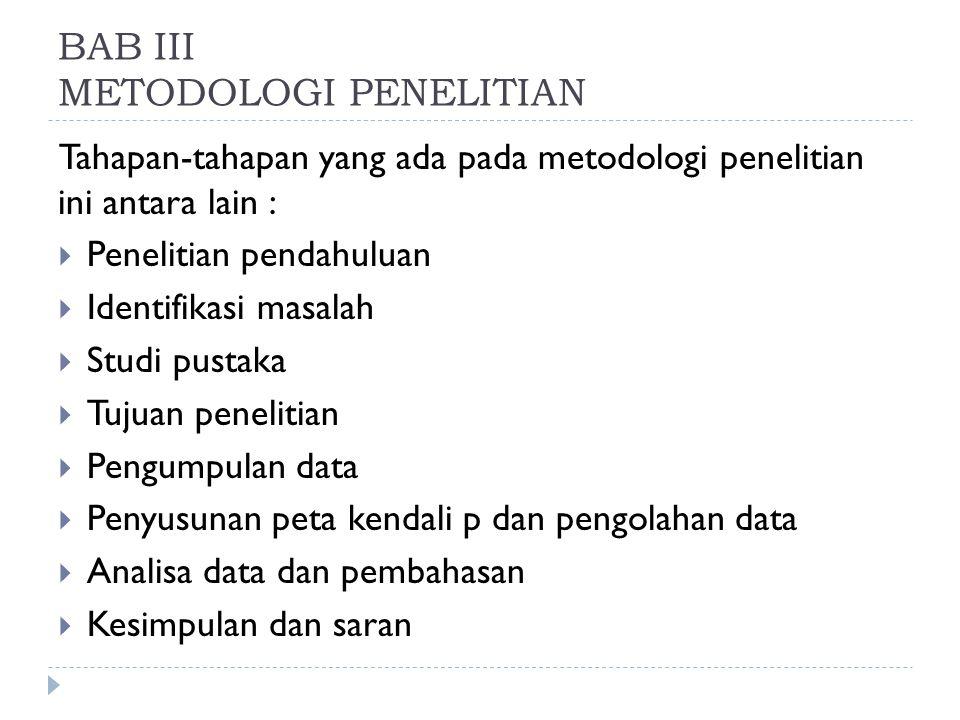 BAB III METODOLOGI PENELITIAN Tahapan-tahapan yang ada pada metodologi penelitian ini antara lain :  Penelitian pendahuluan  Identifikasi masalah 