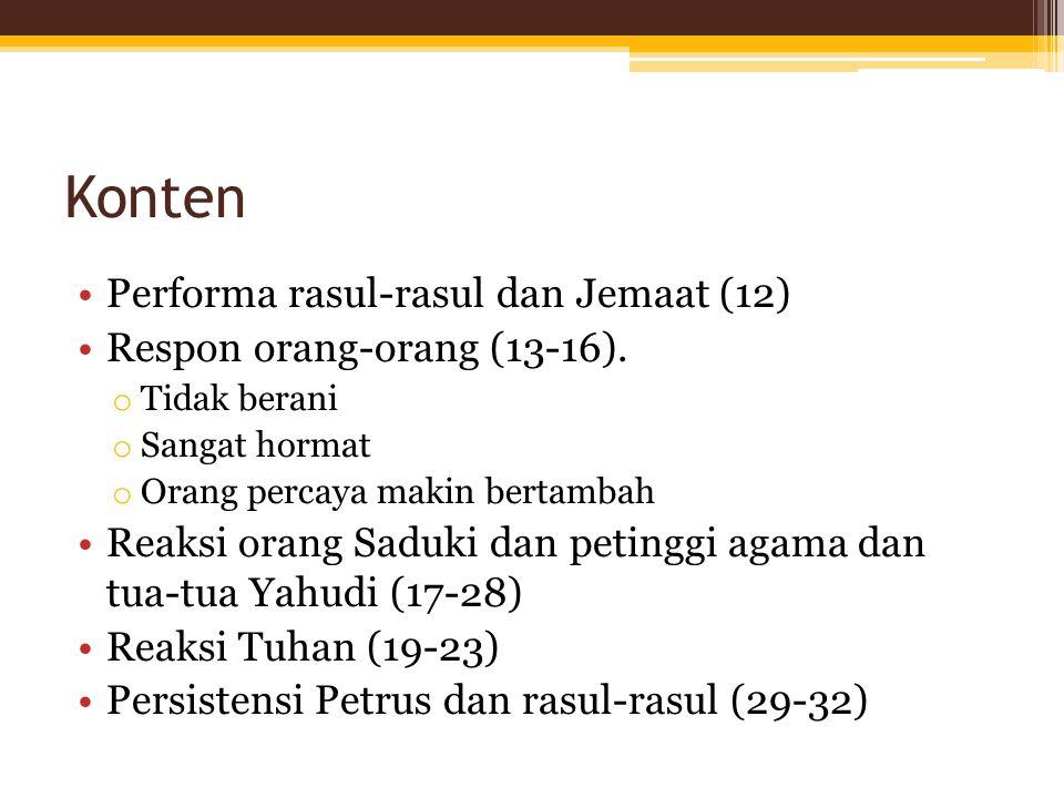 Konten Performa rasul-rasul dan Jemaat (12) Respon orang-orang (13-16).