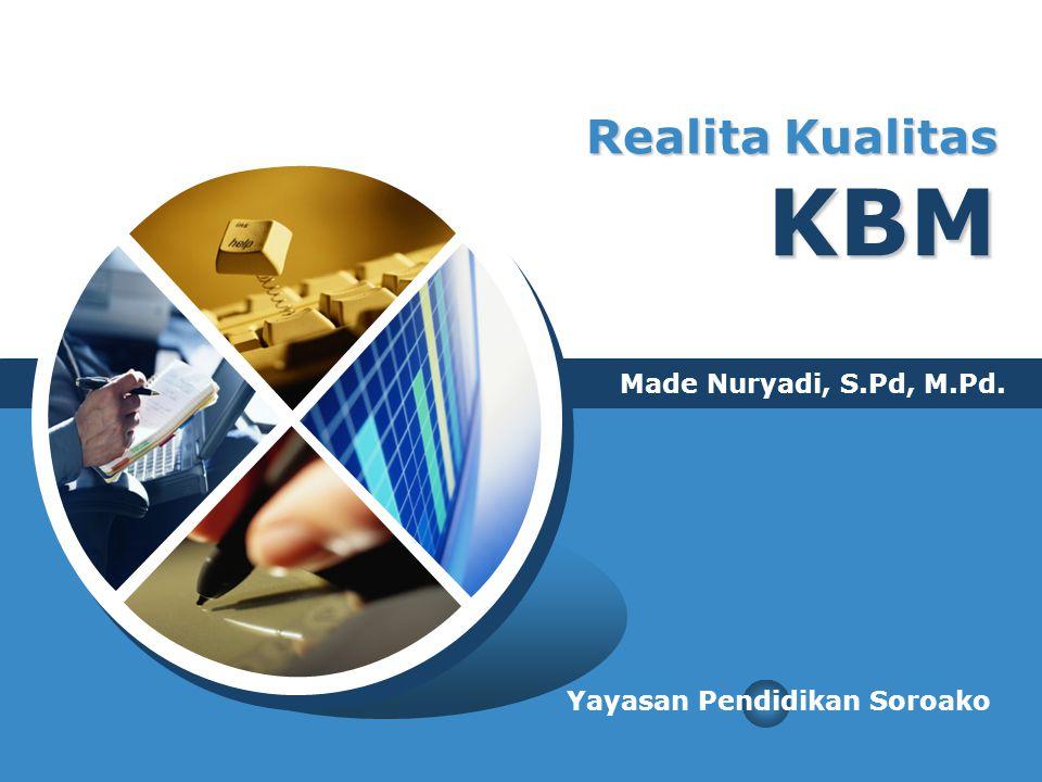 Realita Kualitas KBM Made Nuryadi, S.Pd, M.Pd. Yayasan Pendidikan Soroako