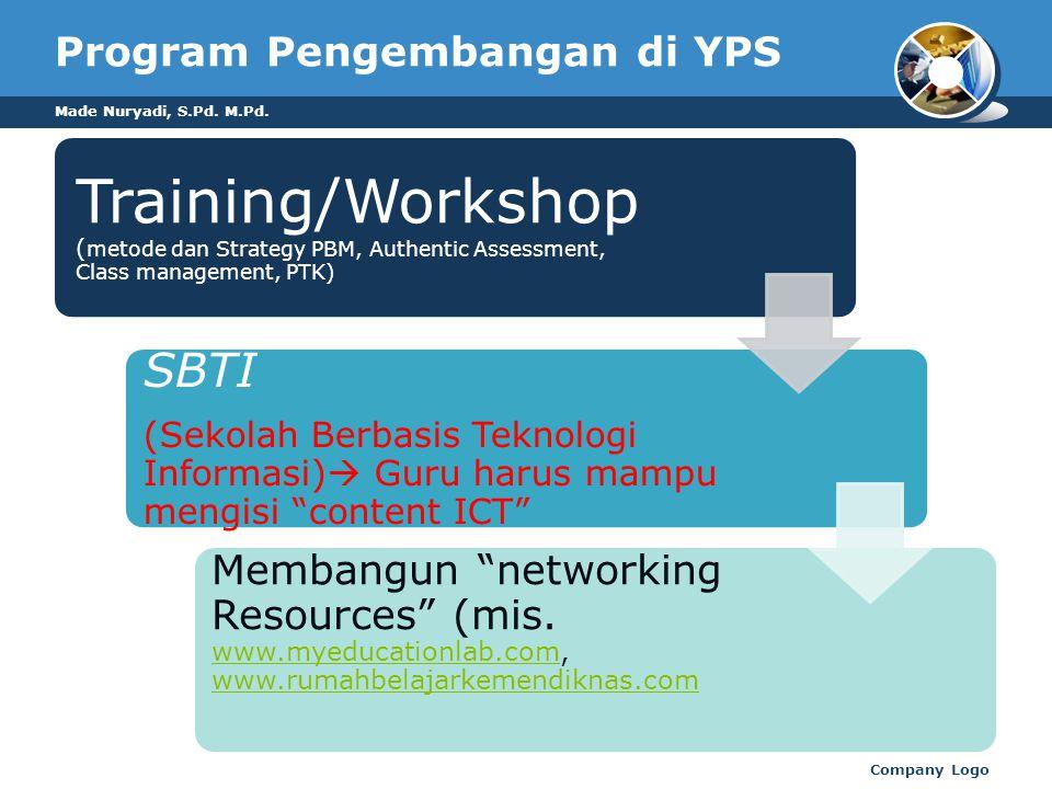 Program Pengembangan di YPS Training/Workshop ( metode dan Strategy PBM, Authentic Assessment, Class management, PTK) SBTI (Sekolah Berbasis Teknologi