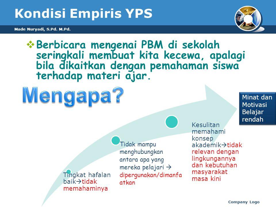 Made Nuryadi, S.Pd. M.Pd. Company Logo Kondisi Empiris YPS  Berbicara mengenai PBM di sekolah seringkali membuat kita kecewa, apalagi bila dikaitkan