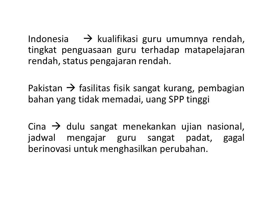 Indonesia  kualifikasi guru umumnya rendah, tingkat penguasaan guru terhadap matapelajaran rendah, status pengajaran rendah.