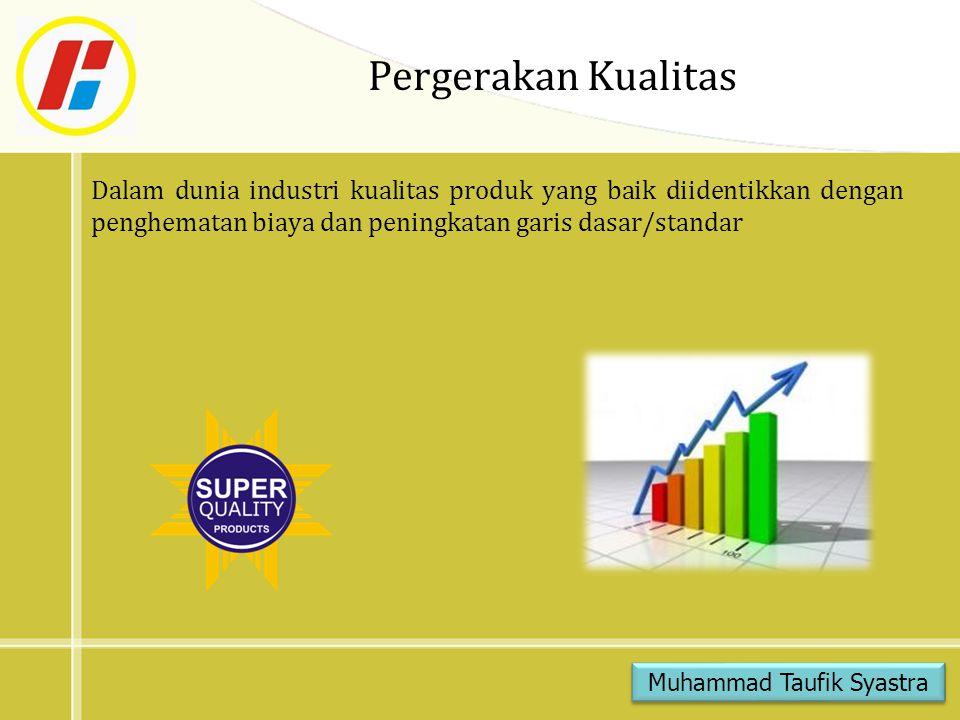 Pergerakan Kualitas Dalam dunia industri kualitas produk yang baik diidentikkan dengan penghematan biaya dan peningkatan garis dasar/standar Muhammad