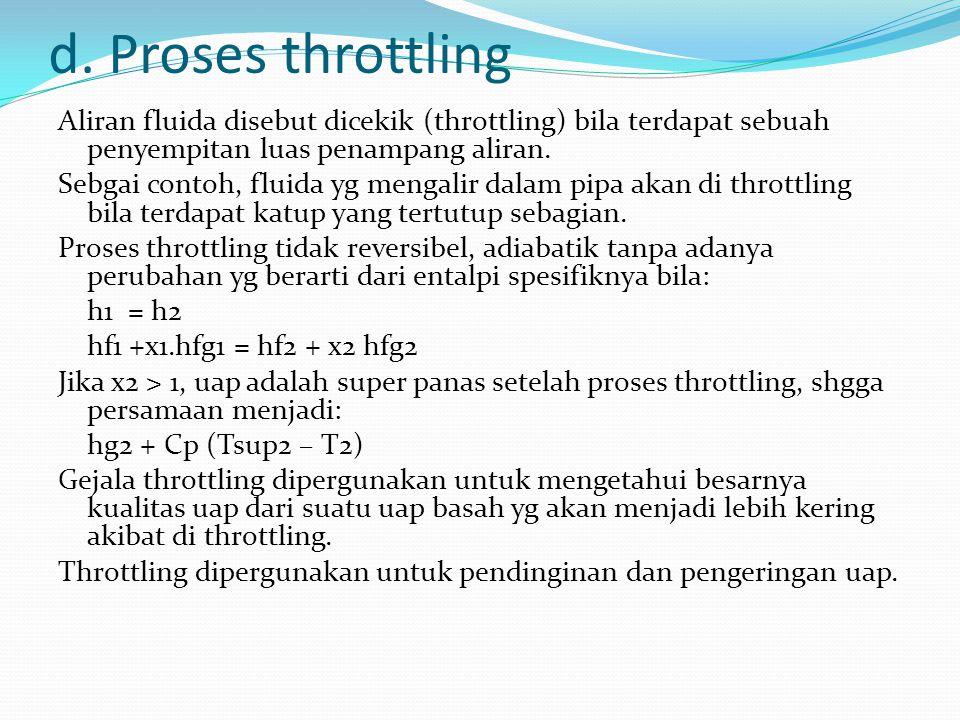 d. Proses throttling Aliran fluida disebut dicekik (throttling) bila terdapat sebuah penyempitan luas penampang aliran. Sebgai contoh, fluida yg menga