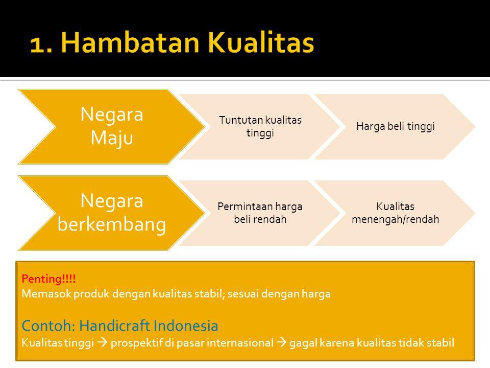 Negara Maju Tuntutan kualitas tinggi Harga beli tinggi Negara berkembang Permintaan harga beli rendah Kualitas menengah/rendah Penting!!!.