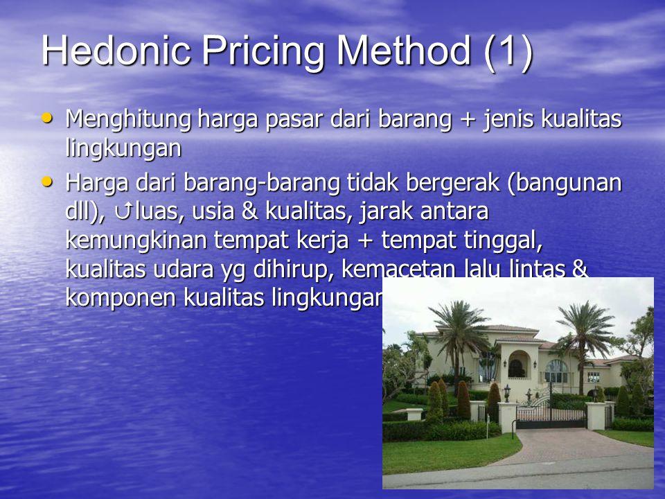 Membahas tentang Harga implisit dari perbedaan ketenangan  berapa harga yg ditetapkan penjual yg siap dibayarkan untuk mendapatkan ketenangan yg berbeda WTP untuk menyewa rumah sepi lebih tinggi daripada rumah yg ramai, ceteris paribus Analisa perbedaan harga rumah  disebut HPM (Hedonic Price Method) Hedonic Pricing Method (2)