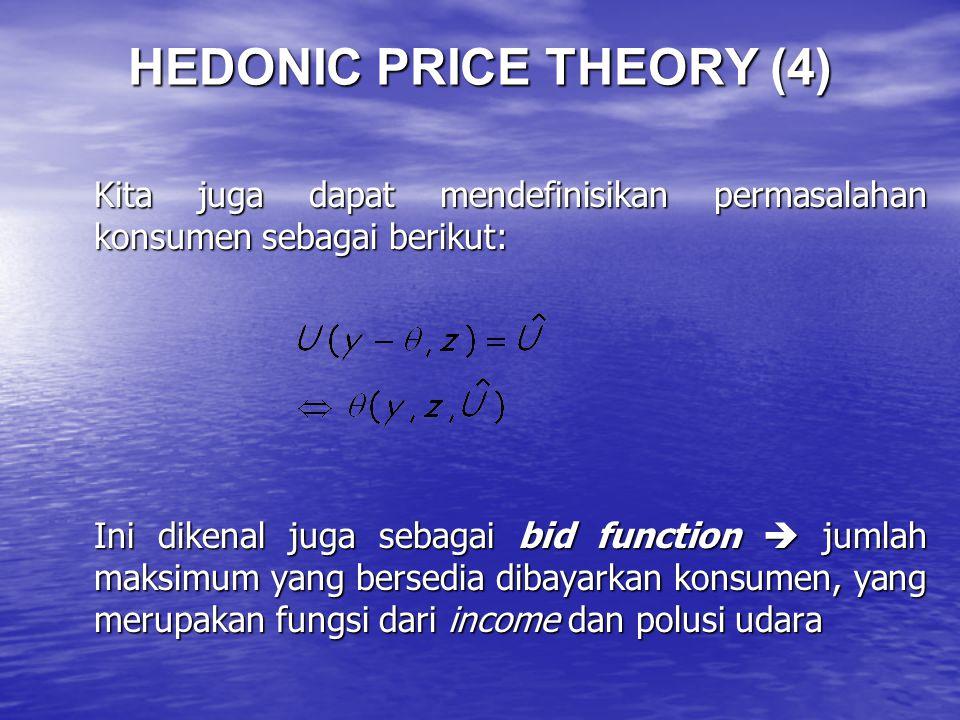 HEDONIC PRICE THEORY (4) Kita juga dapat mendefinisikan permasalahan konsumen sebagai berikut: Ini dikenal juga sebagai bid function  jumlah maksimum yang bersedia dibayarkan konsumen, yang merupakan fungsi dari income dan polusi udara