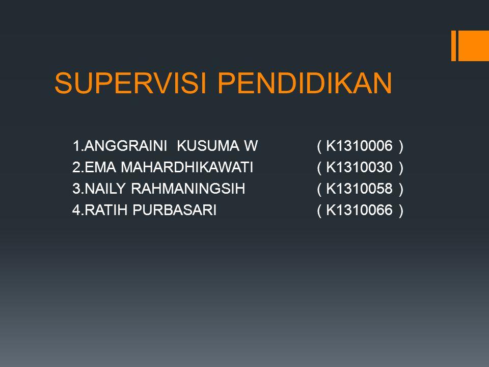 SUPERVISI PENDIDIKAN 1.ANGGRAINI KUSUMA W( K1310006 ) 2.EMA MAHARDHIKAWATI( K1310030 ) 3.NAILY RAHMANINGSIH( K1310058 ) 4.RATIH PURBASARI( K1310066 )