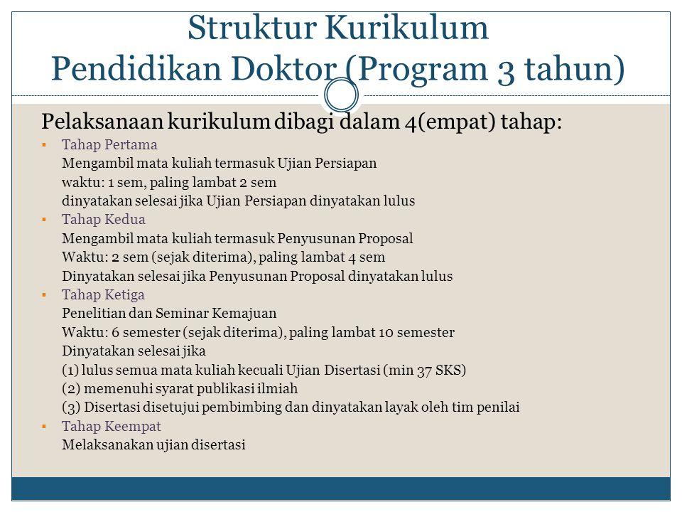 Struktur Kurikulum Pendidikan Doktor (Program 3 tahun) Pelaksanaan kurikulum dibagi dalam 4(empat) tahap:  Tahap Pertama Mengambil mata kuliah termas