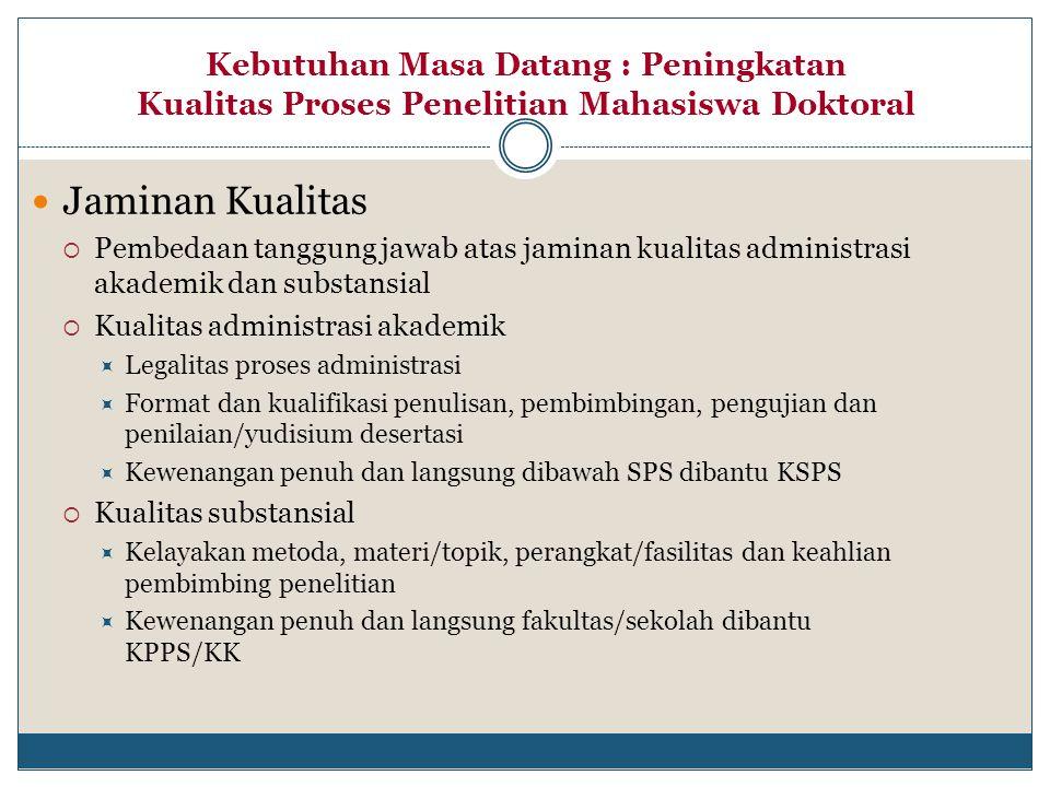 Jaminan Kualitas  Pembedaan tanggung jawab atas jaminan kualitas administrasi akademik dan substansial  Kualitas administrasi akademik  Legalitas p