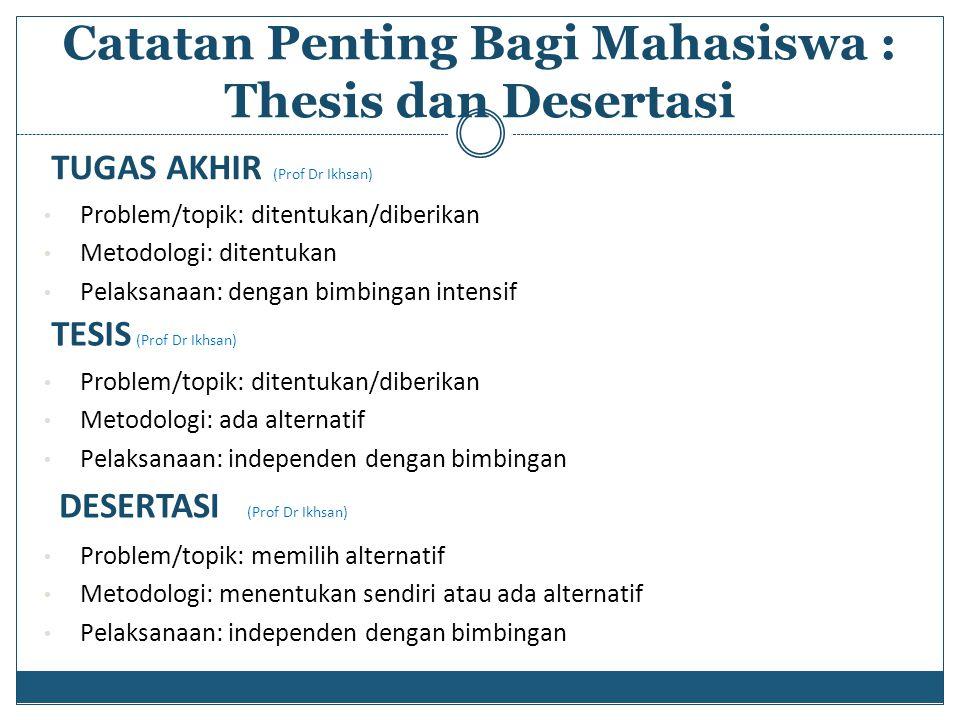 TUGAS AKHIR (Prof Dr Ikhsan) Problem/topik: ditentukan/diberikan Metodologi: ditentukan Pelaksanaan: dengan bimbingan intensif Catatan Penting Bagi Ma