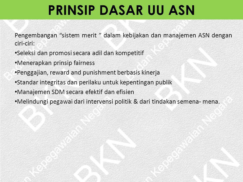 "Pengembangan ""sistem merit "" dalam kebijakan dan manajemen ASN dengan ciri-ciri: Seleksi dan promosi secara adil dan kompetitif Menerapkan prinsip fai"